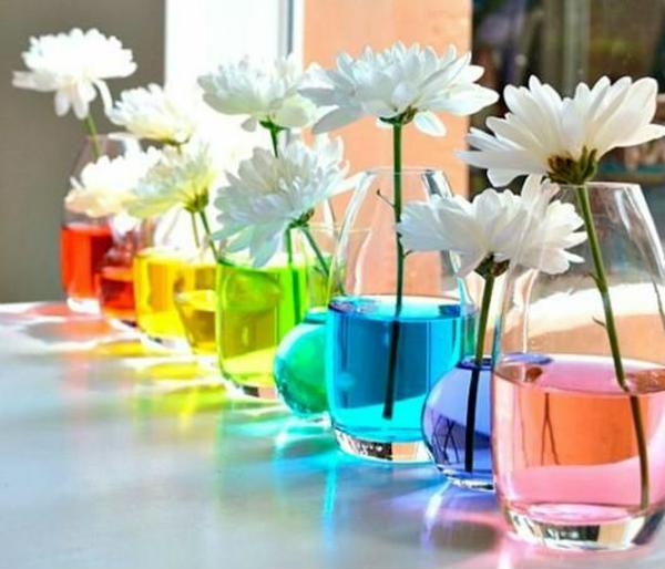 Decorative vases with colored water
