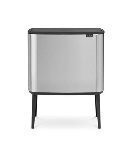 Brabantia Bo Touch Bin Trash Can, Anti-Fingerprint, Stainless Steel, Silver, 11 + 23 liters