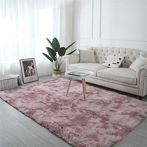Troysinc - Long-pile, washable, modern, fluffy rug for living room or bedroom, polyester, pink, 140 x 200 cm