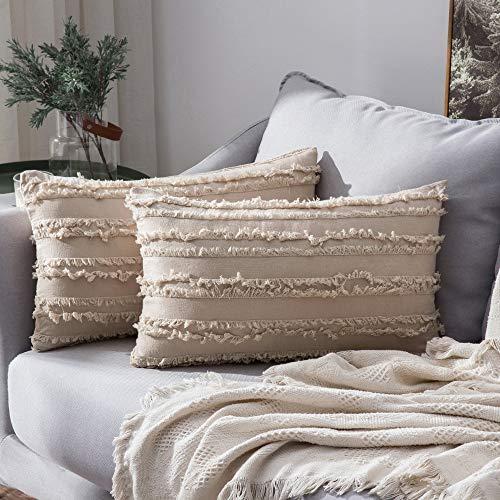 "MIULEE Cushion Covers Tassel Comfortable Soft Pillow Cushion Cover Case Decorative Linen Durable Decor for Sofa BedBeige 12""x20""Inch 30x50cm 2 Pieces"