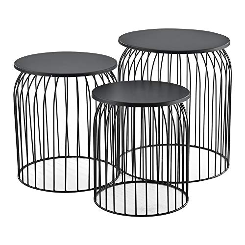 [en.casa]  Set of 3X Metal Baskets Low Table Side Table for Storage Tea and Coffee Tables Coffee Tables Black