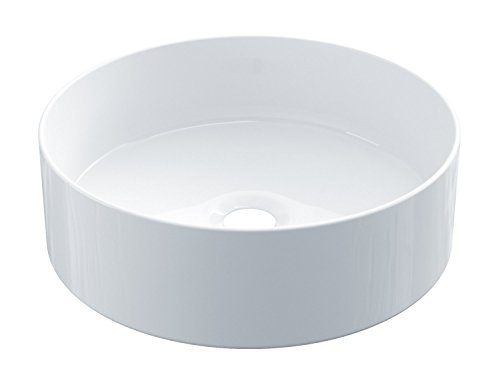 STARBATH PLUS Round White Glossy Ceramic Countertop Washbasin 35 x 35 x 12 cm SFCIL
