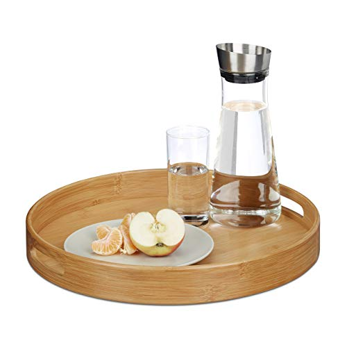 Relaxdays Round Waiter Tray with Handles and Rim, Bamboo, Brown, 38.5 cm