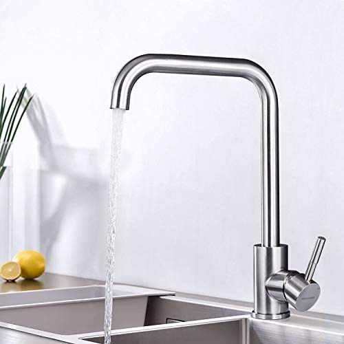 BONADE Kitchen Faucet 360 ° Swivel Brushed Mixer for Sink Mixer Tap 304 Stainless Steel Hot and Cold Water Available