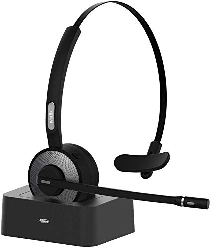 Willful Headphones with Microphones, Bluetooth Headset PC Helmets with Noise Canceling Charging Station, Compatible with PC, iPad, Landline Phone, Skype, Office, Hands-free for Landline Phone