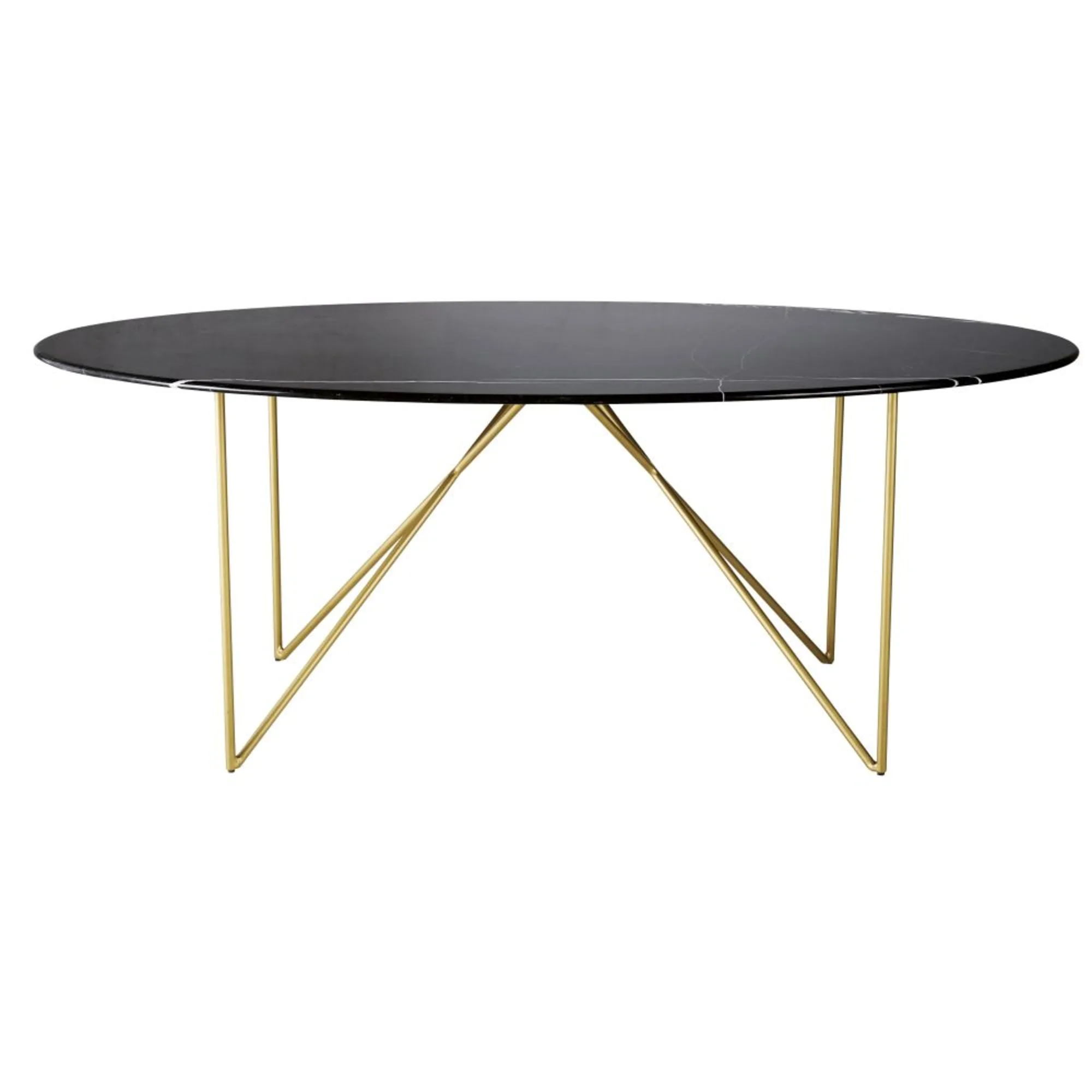 IZMIR.- Black marble and metal dining table for 4/6 people L200