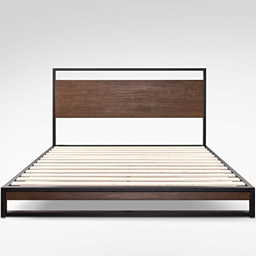 Zinus Suzanne Metal And Wood Bed Base with Headboard 150x190x18cm
