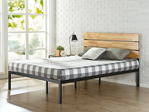 Zinus Wood and metal platform bed with Paul pine wood slats, Mattress base, No need to use a bed base, Solid wood slat support, Easy assembly, 150 x 190 cm