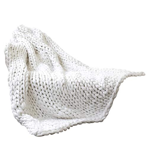 Qiekenao Thick Knitted Blanket, Handmade, Fleece, Pet, Sofa, Bed, Home Decor, Gift, Cloth, White, 80 * 100