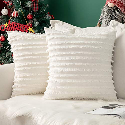 "MIULEE Christmas Cushion Covers Tassel Comfortable Soft Pillow Cushion Cover Case Decorative Linen Durable Christmas Decor Sofa Bed White 18""x18""Inch 45x45cm 2 Pieces"