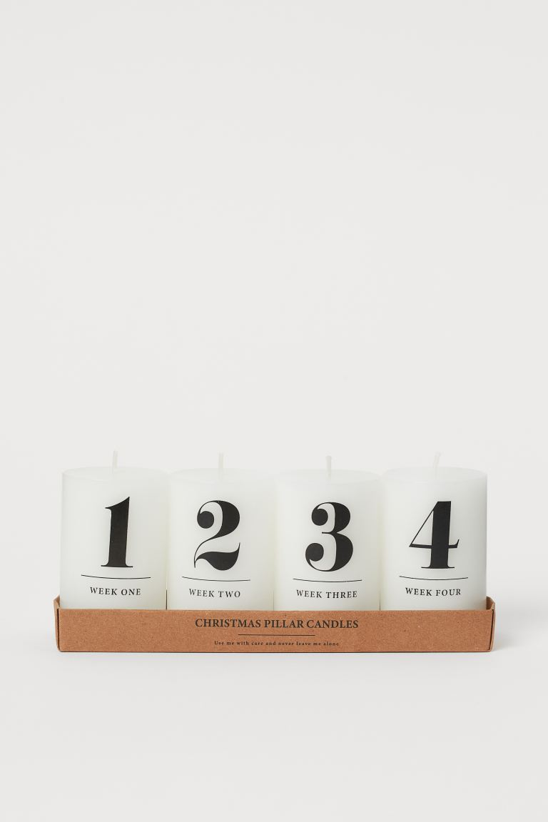 Pack of 4 thick candles