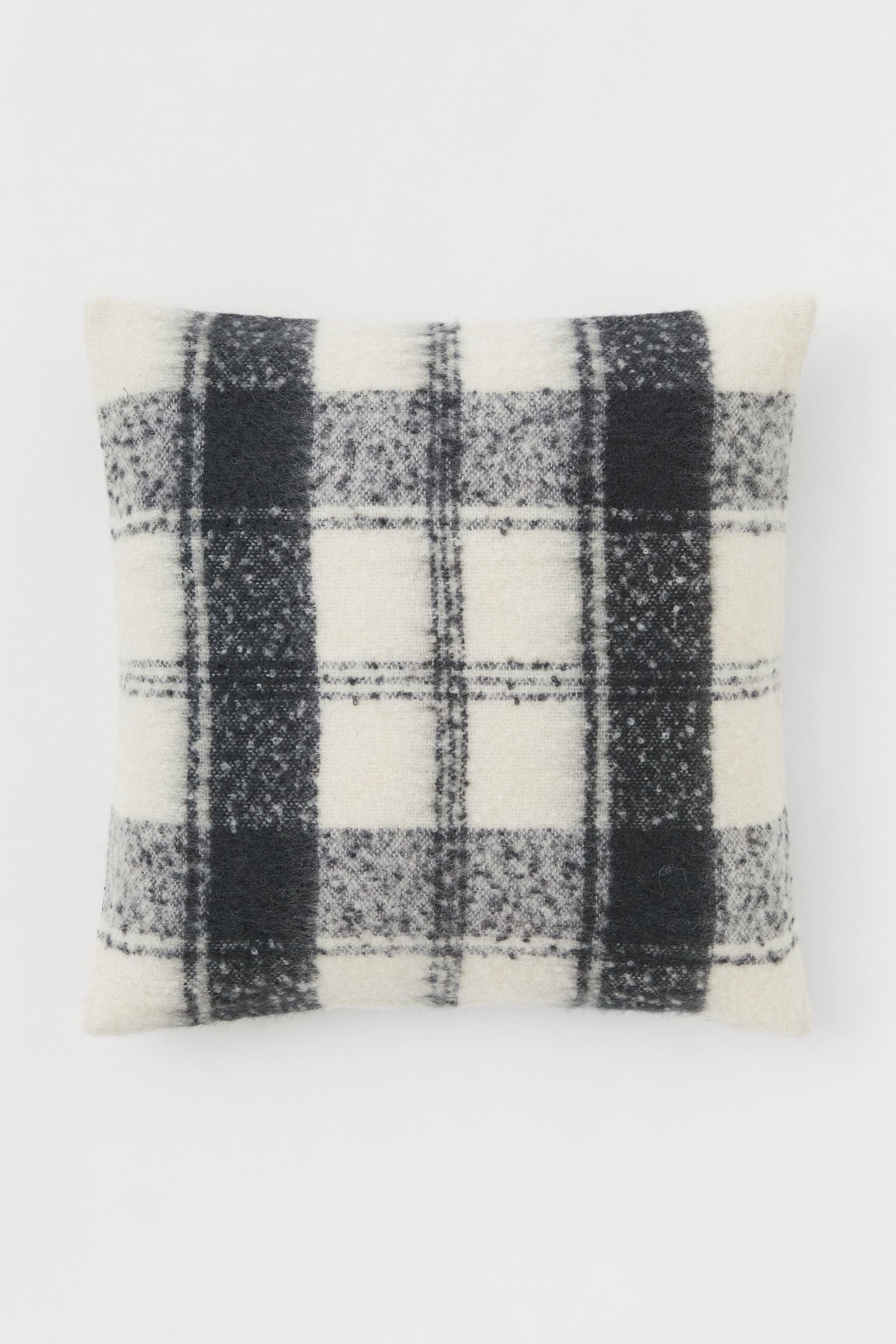 Wool cushion cover - Dark gray / White - 50x50 cm