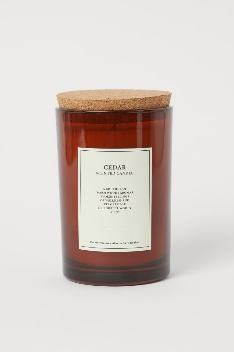 Large scented candle with lid