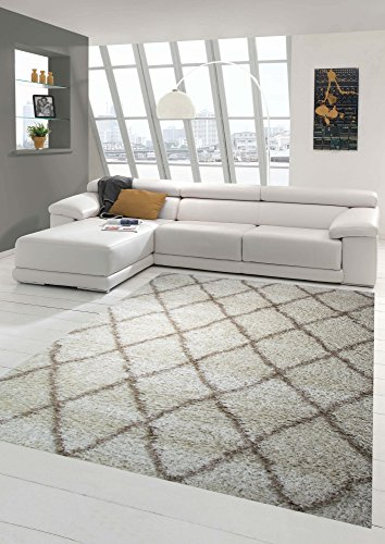 Shaggy Shaggy living room rug Beige cream diamond pattern Größe 200 x 290 cm
