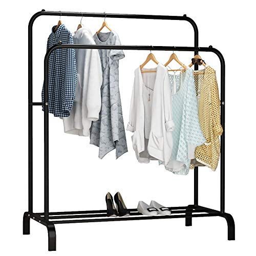 UDEAR Coat Racks Burro Freestanding Double Rod Hangers Multifunctional Bedroom Clothes Rack, Black