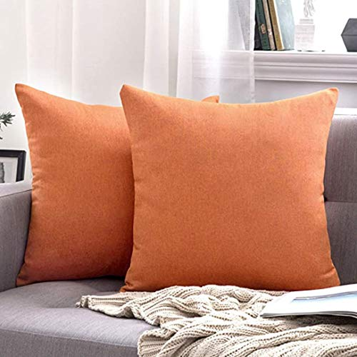 MIULEE 2 Piece Set Cushion Cover Waterproof Soft and Eco-friendly Linen Pillowcase Hidden Zipper Durable Decor for Sofa Bed Bedroom Outdoor Office 45x45cm Orange