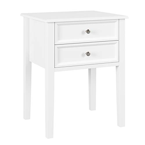 Homfa Bedside Table Side Table with 2 storages for home White 48 × 40 × 60cm