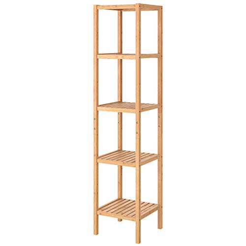 Homfa Bamboo Shelving Bathroom Shower Shelving Storage Shelving with 5 Levels for Bathroom Kitchen Height Adjustable 33x33x146.2cm