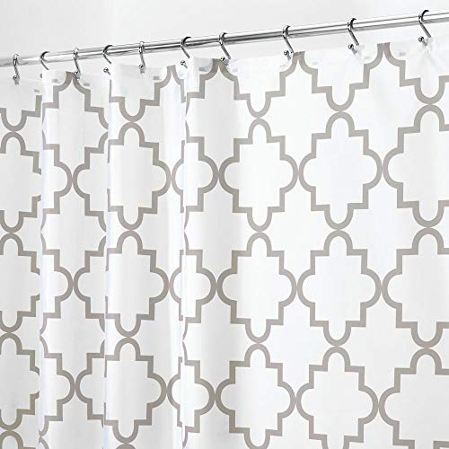 mDesign Anti-Mold Shower Curtain - Shower Curtains with Mesh Design and 12 Reinforced Grommets for Simple Installation - Waterproof Shower and Bath Curtain 183 cm x 183 cm - Light Gray