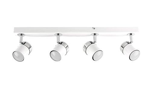MiniSun - Modern Ceiling Lamp - Bar with 4 Adjustable Spotlights - White Color - Light Strip - Indoor Lighting