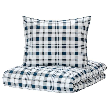 Spikvallmo Duvet Cover 2 Pillowcases White Blue Plaid 0794483 Pe769126 S5
