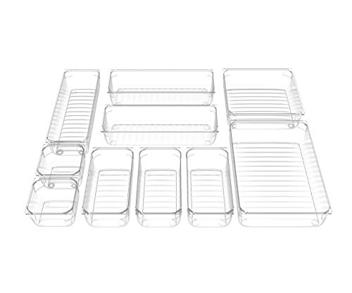 IPOW 10 PCS Drawer Organizer with 5 Different Sizes, Desk Drawer Organizer for Kitchen, Bathrooms, Stationery, School, Closet and Accessories