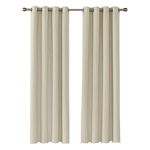 UMI by Amazon Blackout Curtains Thermal Insulating Fabrics Cold Heat Noise Light UV Rays for Living Room Bedroom Set of 2 Panels 140 x 245 cm Dark Beige