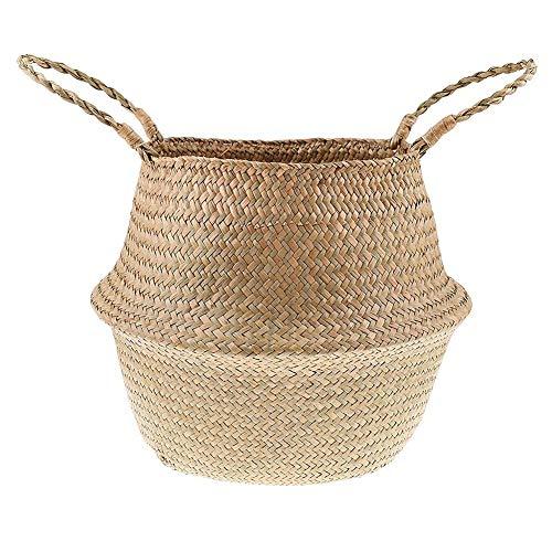 Cozywind Natural Hand Woven Basket, Folding Storage Basket for Laundry, Flowers, Plants, Toys, 45cm x 35cm (XL)