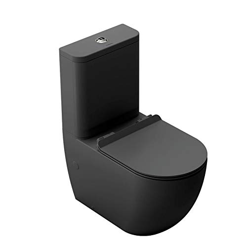 Matte Black toilet with cushioned lid (Extra-flat lid)
