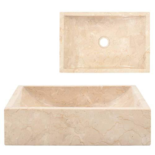 Festnight Bathroom Sinks Countertop Sink Basin 45X30X12 Cm Cream Marble