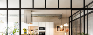 Glass and aluminum doors in the kitchen;  the alternative to American kitchens or open to the living room