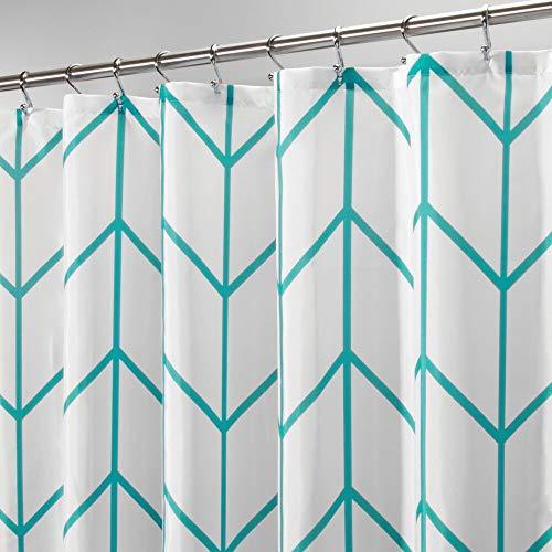 mDesign Polyester Shower Curtain - Modern Bathroom Accessory for the Shower - Herringbone Pattern Shower Curtains - 183cm x 183cm Bathroom Curtains - Greenish Blue / White