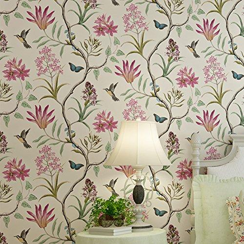 LianLe Wallpaper Birds Butterflies Flowers for Wall Decoration 10M * 0.53M, A