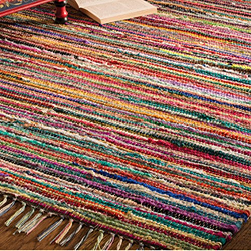 Fair Trade Indian Arts Rag Rug with 100% Recycled Materials, Multicolor 75 x 120cm Multicolor