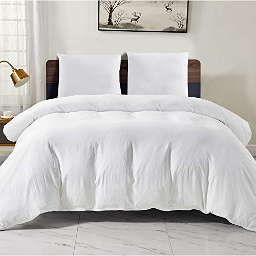 WAVVE Duvet Cover 155x220cm with 2 Pillowcases 80x80cm, Soft and Breathable Microfiber Duvet Cover, White 3pcs