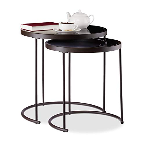 Relaxdays Set 2 Round Auxiliary Tables, Steel-Glass, Brown / Black, 50 x 50 cm