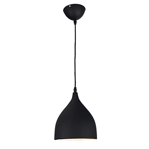 Modern Industrial Pendant Lamp - E27 / E26 Vintage Pendant Light Decorative Lighting, Retro Aluminum Ceiling Lamp (Black)