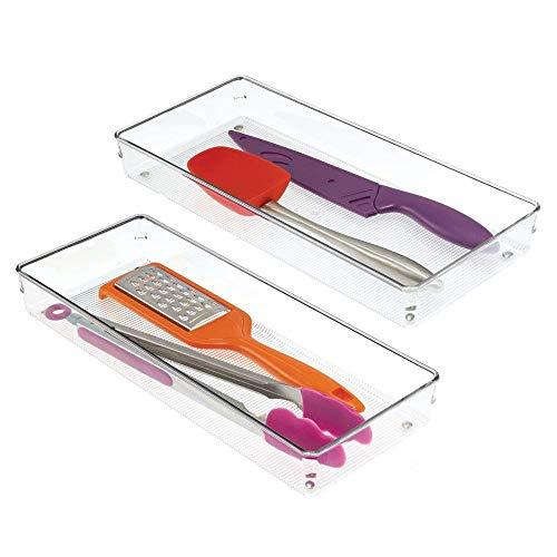 InterDesign Linus Drawer Organizer, Large Plastic Kitchen Drawer Cutlery Set, Set of 2 Drawer Cutlery Holders, Transparent