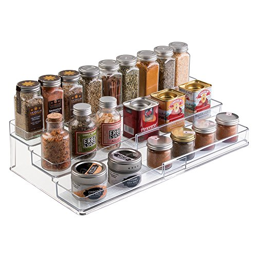 mDesign Extendable plastic spice rack - Shelf for spices and condiments - Ideal kitchen accessory to organize spices - Spice rack with 3 levels - transparent