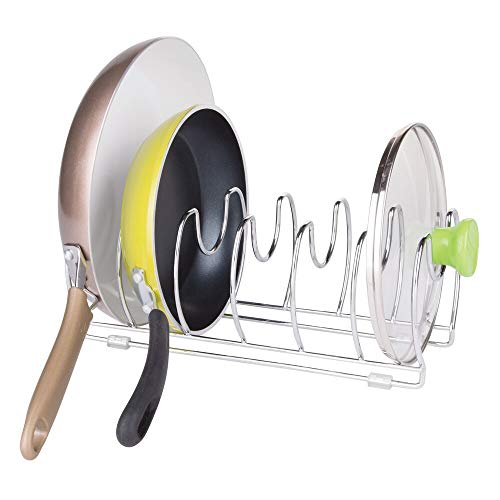 mDesign Pan and Lid Organizer - Chrome Metal Stand with 6 Compartments for Pans and Pot Lids - Kitchen Cabinet and Drawer Organizer