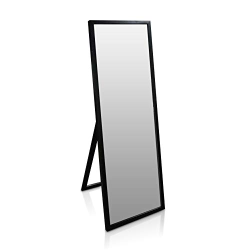Classic by Casa Chic - Full Length Mirror - 130x45cm - Solid Wood - Free Standing or Wall Mounted - Black