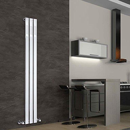 Hudson Reed Modern Design Vertical Radiator Delta - Chrome Finish Radiator - Flat Panels - 1600 x 225mm - 295W - Heating