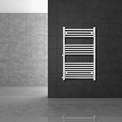 ECD Germany Sahara towel radiator - 600 x 1200 mm - White - Flat - with side connection - Modern design towel radiator - Non-electric