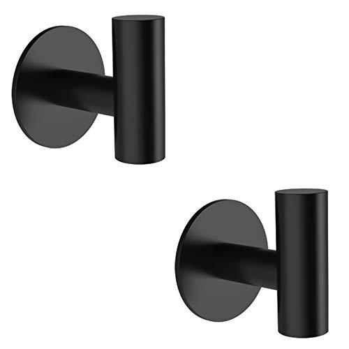 Adhesive Hooks, LYLIN Stainless Steel Adhesive Wall Hooks, Bathroom, Kitchen and Bathroom Towel Hooks Max 7KG (Black 2Pcs)