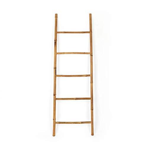 Black Velvet Studio I Love Bamboo Ladder, towel rack Bathroom shelf, 5 steps, Ethnic Style, Elegant, Natural, Lightweight, Coat Rack, bamboo, Natural Color, 150x50x4 cm.