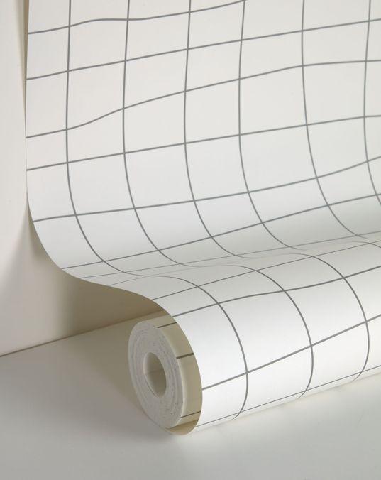 Saori wallpaper with gray checkered pattern 10 x 0.53 m