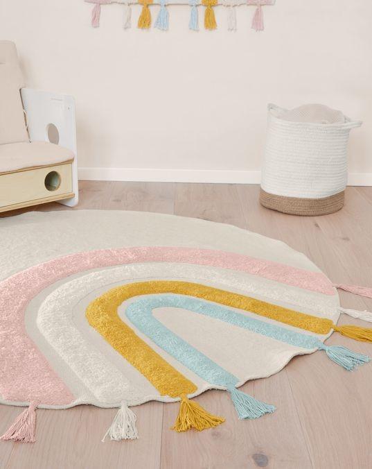 Thaide round rug 100% cotton (GOTS) rainbow multicolor Ø 100 cm