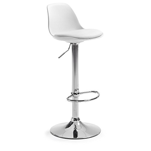 Kave Home - Orlando-T White Bar Stool with Back, Seat upholstered in Synthetic Leather and with Steel foot