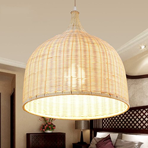 LXSEHN Rural Rota Bamboo Handmade Chandelier Restaurant Living Room Bedroom Balcony Aisle Wood Ceiling Lamp Hanging Pendant Lamp (Size: 45 * 45cm)