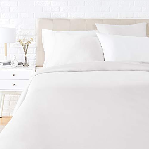 AmazonBasics Satin Duvet Cover Bedding Set, 155 x 220 cm / 80 x 80 cm x 2, White